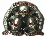 See no Evil Speak no Evil Hear no Evil Belt Buckle with display stand. Code AC1